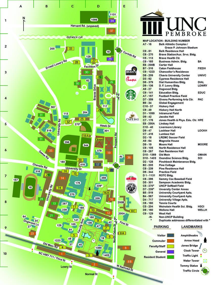 university of northern colorado campus map Campus Map The University Of North Carolina At Pembroke university of northern colorado campus map