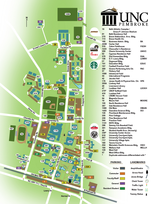 UNC Pembroke Campus Map