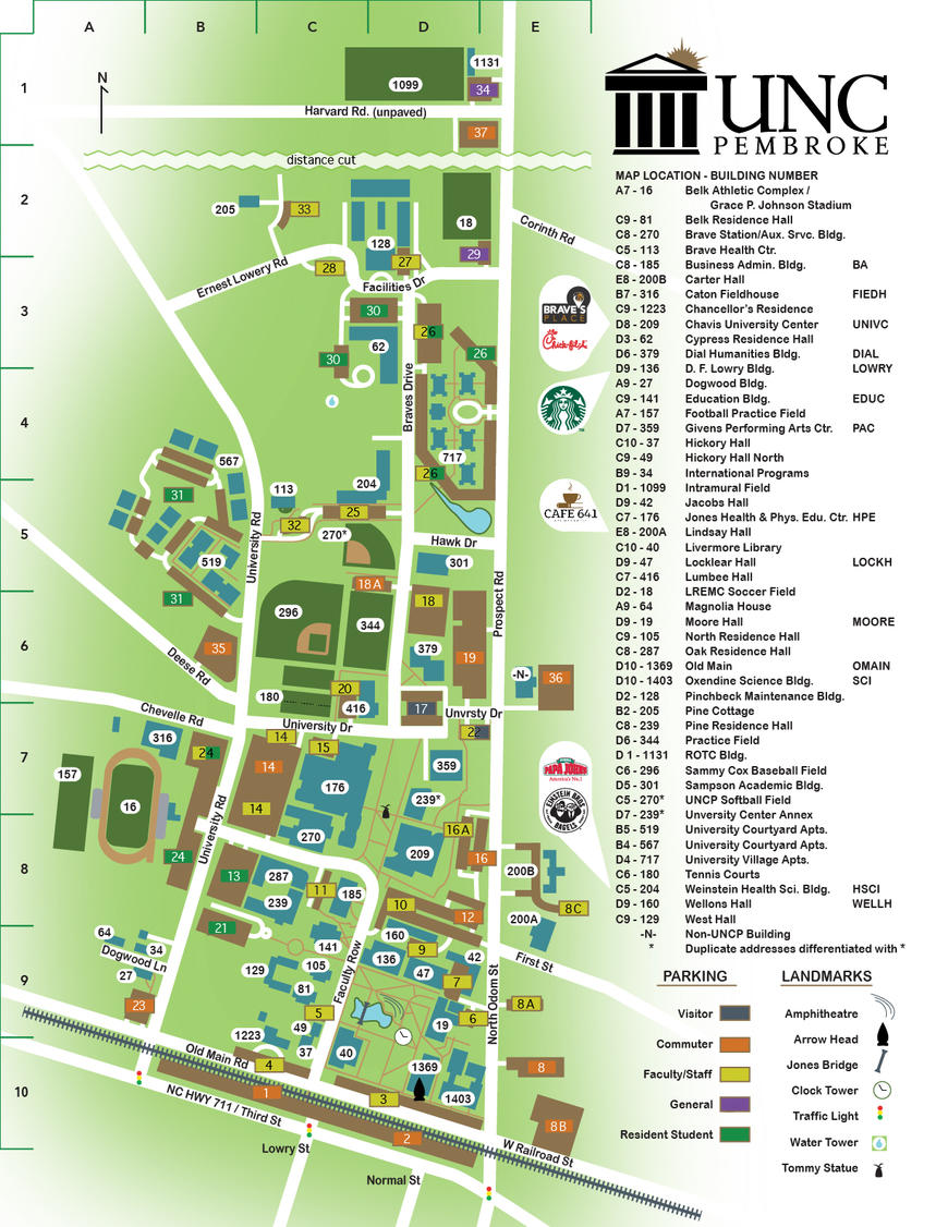 Campus Map   The University of North Carolina at Pembroke on wcu map, wsu vancouver map, sccc map, wssu map, st. norbert college map, fmu map, ttu map, vsu map, jcu map, uiw map, wiu map, old islamic map, uncw map, clayton state university map, uw oshkosh map, unca map, sfsu map, uncg map, unc map, university of arkansas fayetteville map,