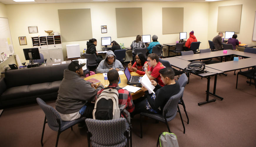 Students at work in the Writing Center