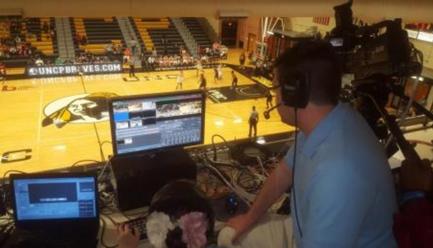 Students direct live sports broadcasts from the Jones Center.