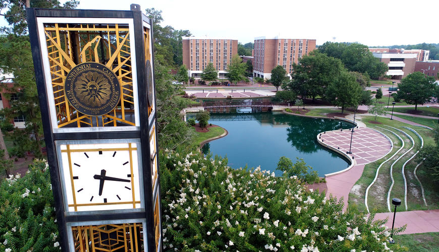 UNCP Bell Tower and Water Feature aerial view