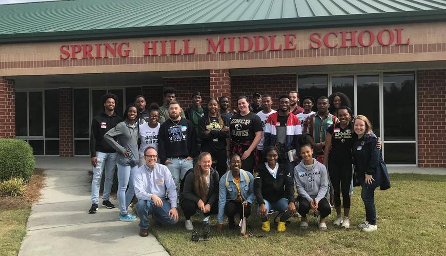 Dr. Scott Hicks and students at Spring Hill Middle School