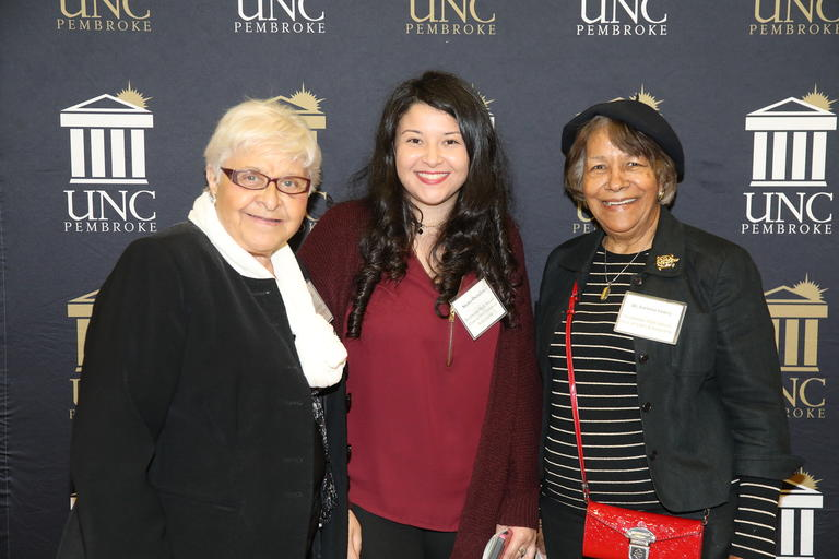 Donors with a student at UNCP Scholarship dinner