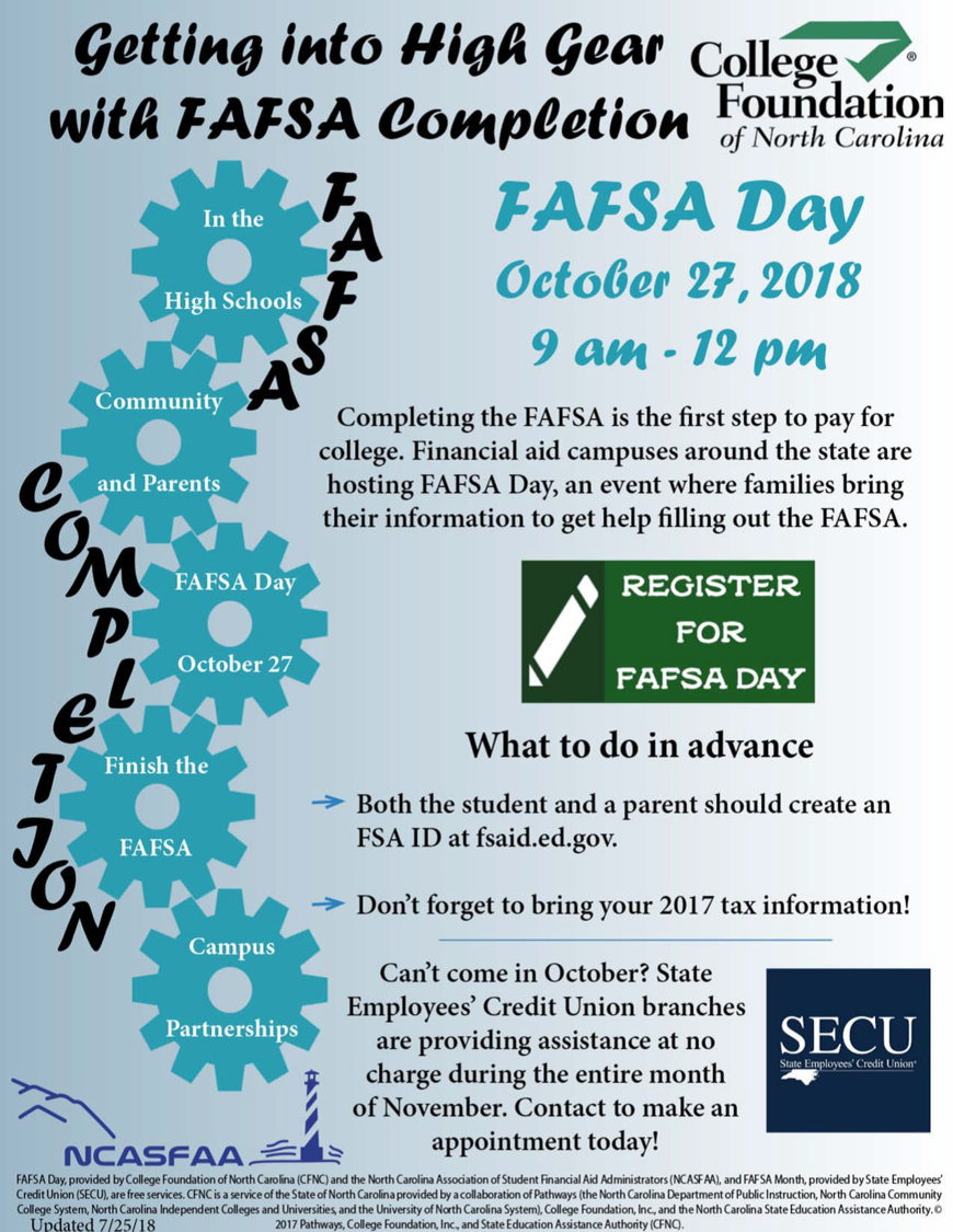 FAFSA Day at UNCP, Saturday, October 27 at 9 a.m.  Oxendine Science Building, Room 1254.  Complete the FAFSA during the state-wide FAFSA Day.