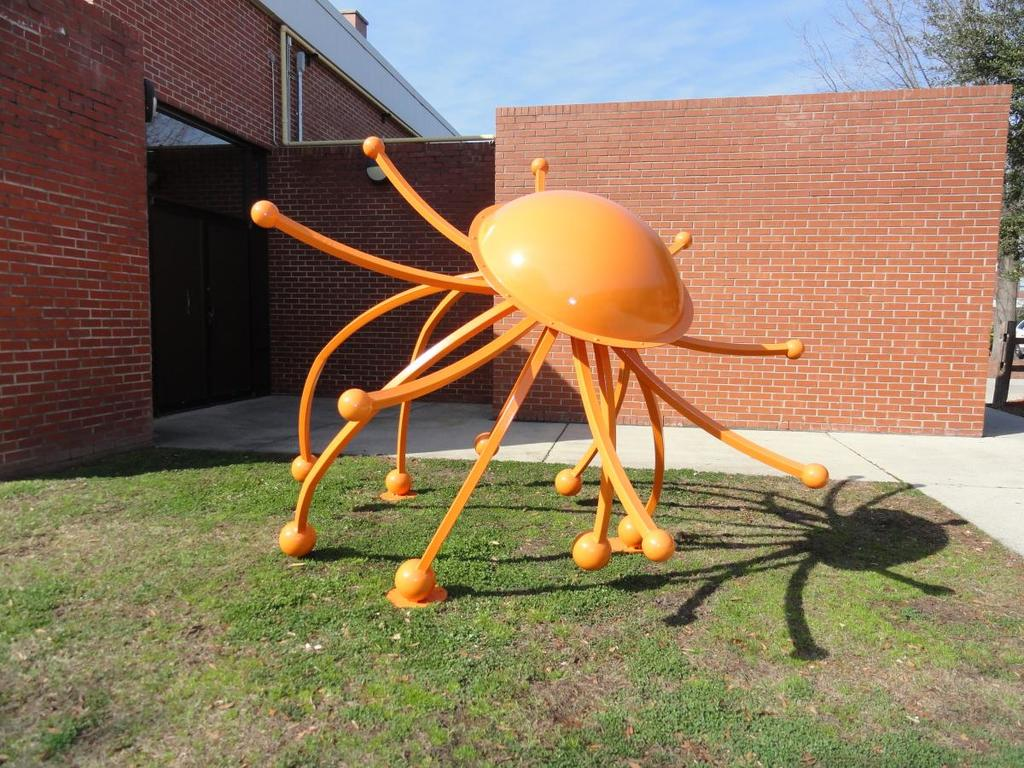 Matthew Sharpe: This painted acrylic and fabricated steel sculpture was displayed as part of Bristol Tennessee's Art in Public Places Program.