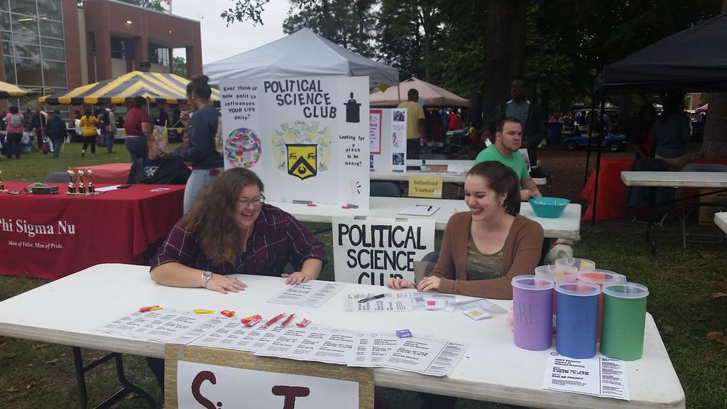 Members of the English Honor Society, Sigma Tau Delta, Man their GRE-word Pong Booth During Pembroke Day