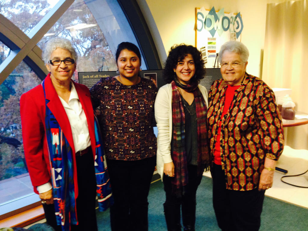 Dr. Michele Fazio along with research assistant, Sandra Torres and Lumbee Elders, Dr. Jo Ann Chavis Lowery and Mabel Cummings.