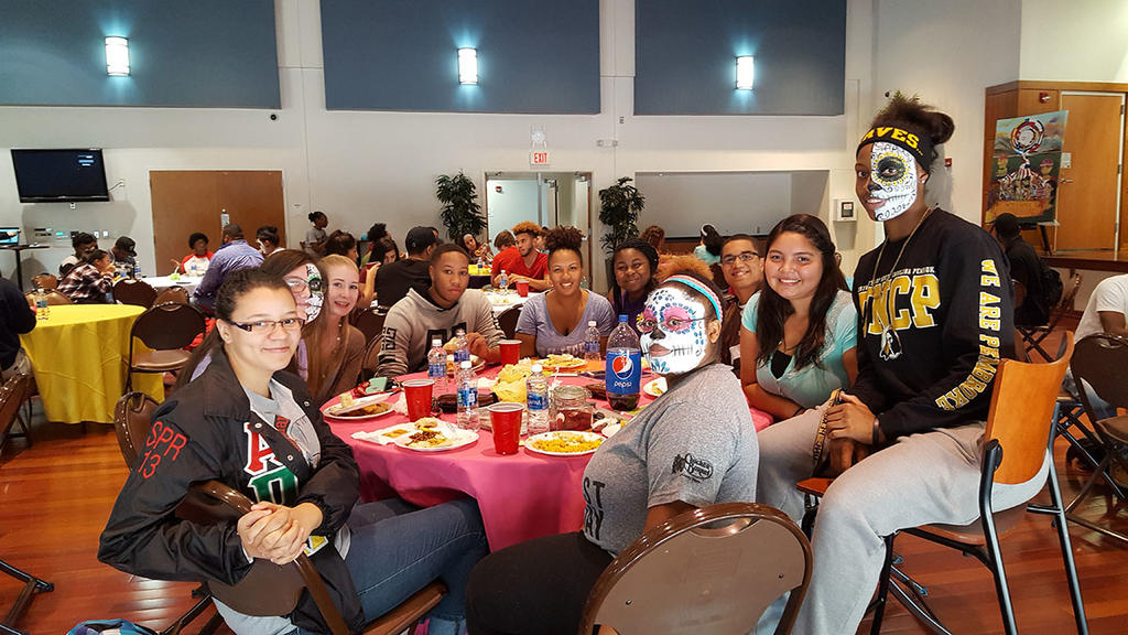 Students celebrate Hispanic Heritage Month by attending the Hispanic Heritage Fall Festival.
