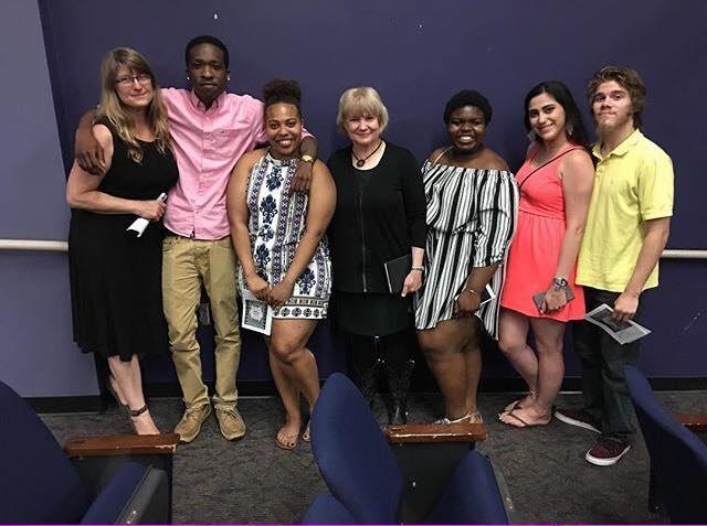 Stephanie Peters (left) and hers students meeting with playwright, Arlene Hutton, after a staged reading of Maria Sibylla at Western Carolina U