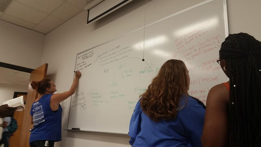 Students in Dr. Mann's Engl 2480 class share their notes about a Dickens novel on the board