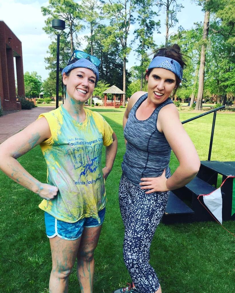 Faculty Members Autumn Lauzon and Hannah Baggott pose after participating in The Hunger Games, an Office of Civic and Community Engagement event to gather Food Bank Donations