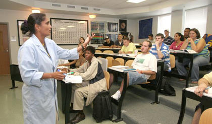 Sally Vallabha lectures to a physical science class