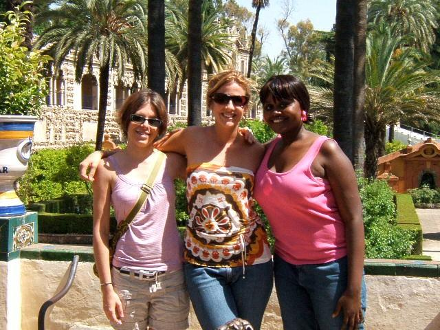 Students enjoy the gardens in Seville