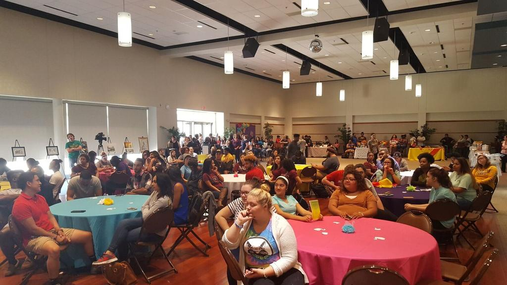 Students attend the Hispanic Heritage Fall Festival.
