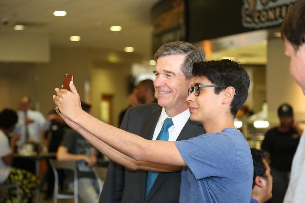 Student Takes Selfie with Governor Cooper