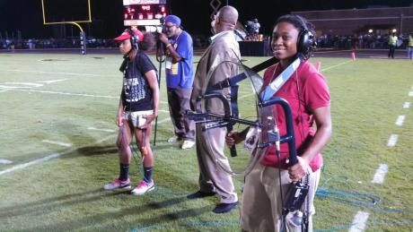 Students worked on a broadcast for CBS Sports Network at a home football game