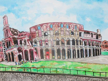 Tulla Lightfoot, The Colosseum, 2014, watercolor and ink