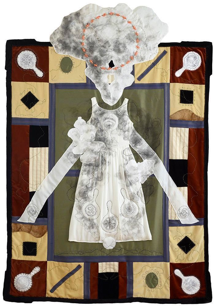 Virginia Derryberry, Janus I, 2013, Fabric, embroidery, paint