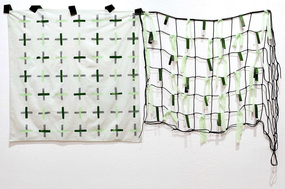 Natalie Smith, Future Future Garden, 2013, Acrylic on cotton and canvas, found materials