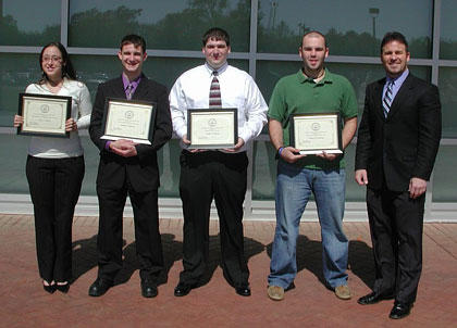2008 Left to right: Latoya Roberts, Bradley Eidschun, Joseph Lemanski, William Mc Pherson and Dr. Steven Bourquin.