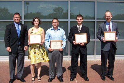 2009 Left to right: Dr. Steven Bourquin, Elizabeth Monroe, Matthew Walsh, Bradley Eidschun and Jeffrey Cook.