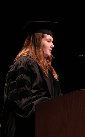 Former GSO president, Samantha Simon, addresses the audience at spring commencement