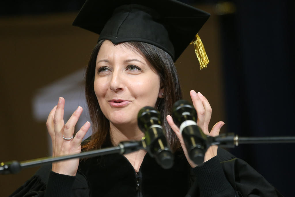 Mandy Cohen, secretary of the N.C. Department of Health and Human Services, delivers the keynote speech during UNCP's winter commencement on Saturday.