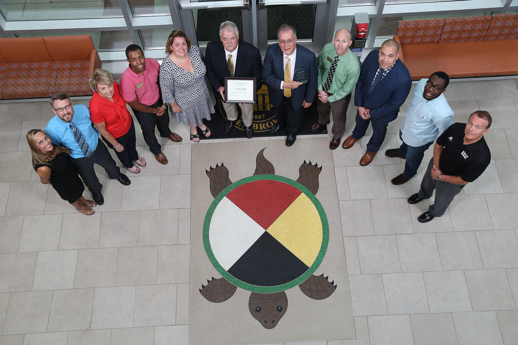 "UNC Pembroke received the ""Green Business"" award by Sustainable Sandhills - 2016"
