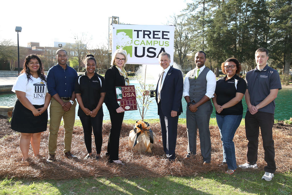 UNC Pembroke earned national recognition as a Tree Campus USA school for 2015