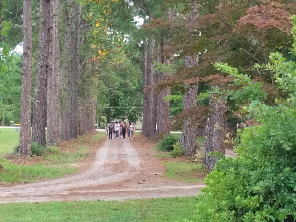 Group walking to Welcome Party at Pine Cottage