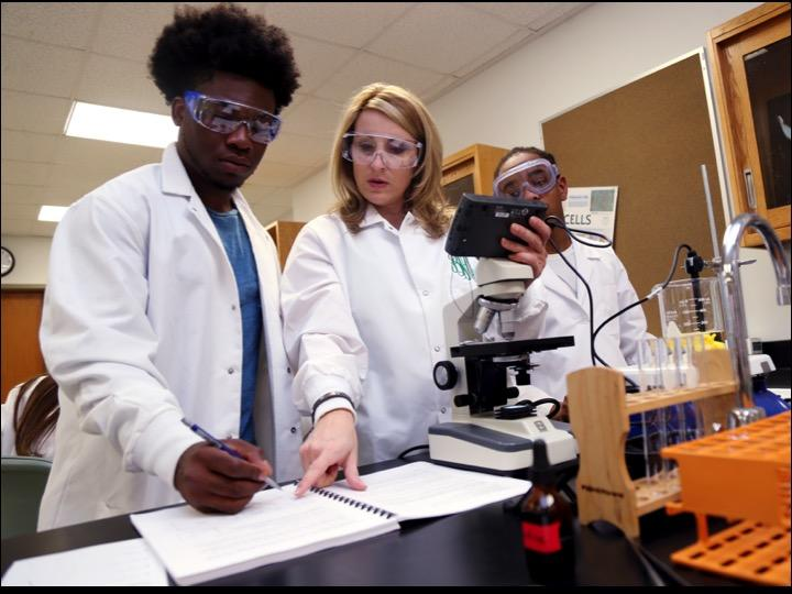 STUDENTS ANALYZE DATA IN BIOLOGY LABORATORY