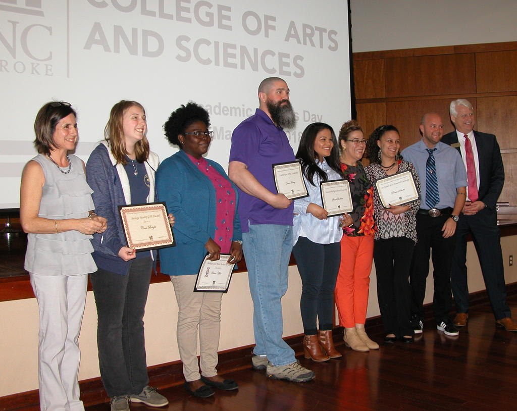 Left to right: Dr. Maria Santisteban, Cora Bright, Uvina Allen, Dane Harvey, Sarah Locklear, Dr. Maria Pereira, Dr. Conner Sandefur, and Dr. Jeff Frederick (Dean of the College of Arts and Sciences)
