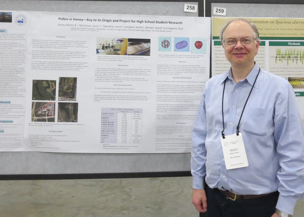 Dr. Martin Farley presented his research on pollen in honey