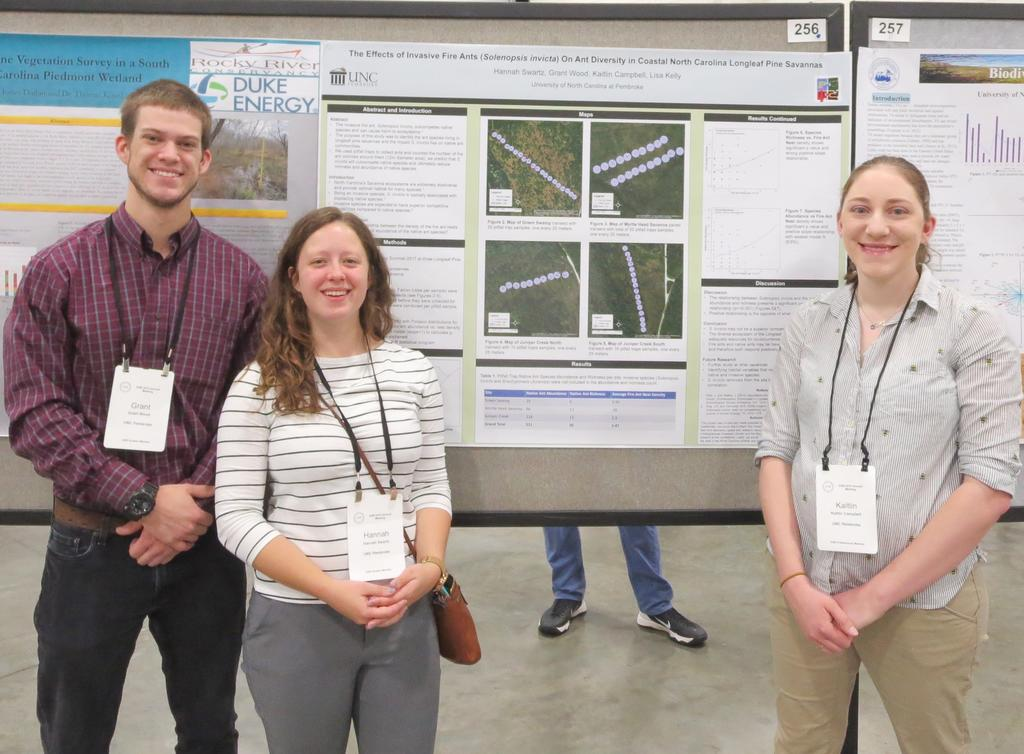 Grant Wood, Hannah Swartz, and their mentor Dr. Kaitlin Campbell studied the effects of invasive fire ants on native ants
