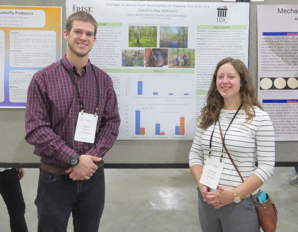 Grant Wood and Hannah Swartz presented their research on the invasive fire ants in a wetland