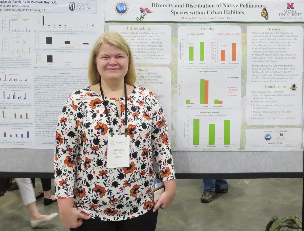 Whitney Pittman presented her research on pollinators in urban habitats