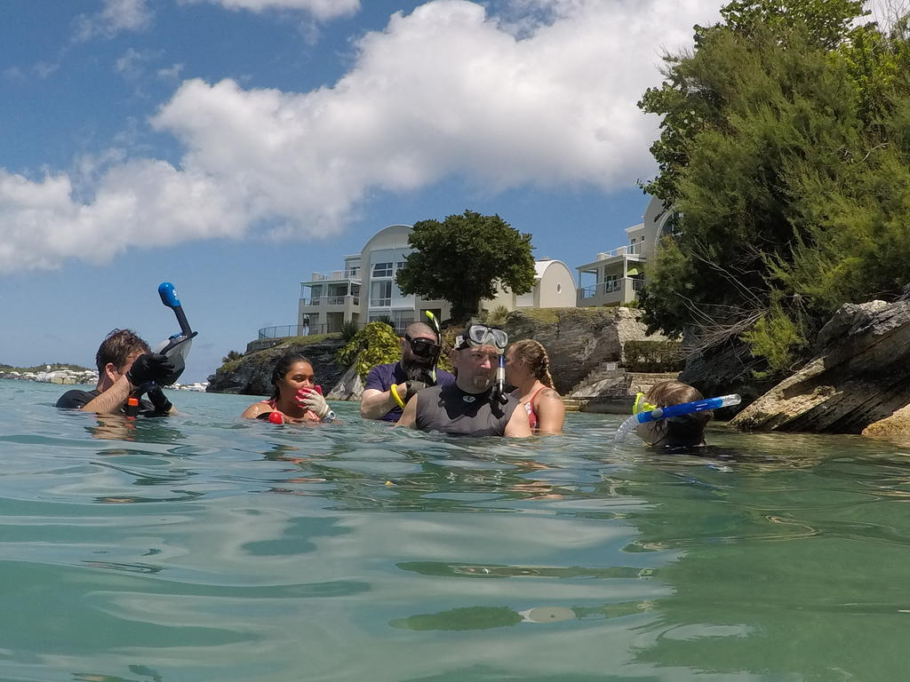 Dr. Leon Jernigan instructs students in snorkeling