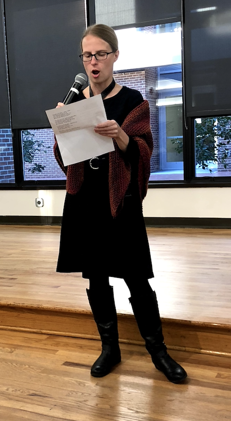 Professor Laura Hakala reads Emily Dickinson's poems at Dead Authors Night 2018.