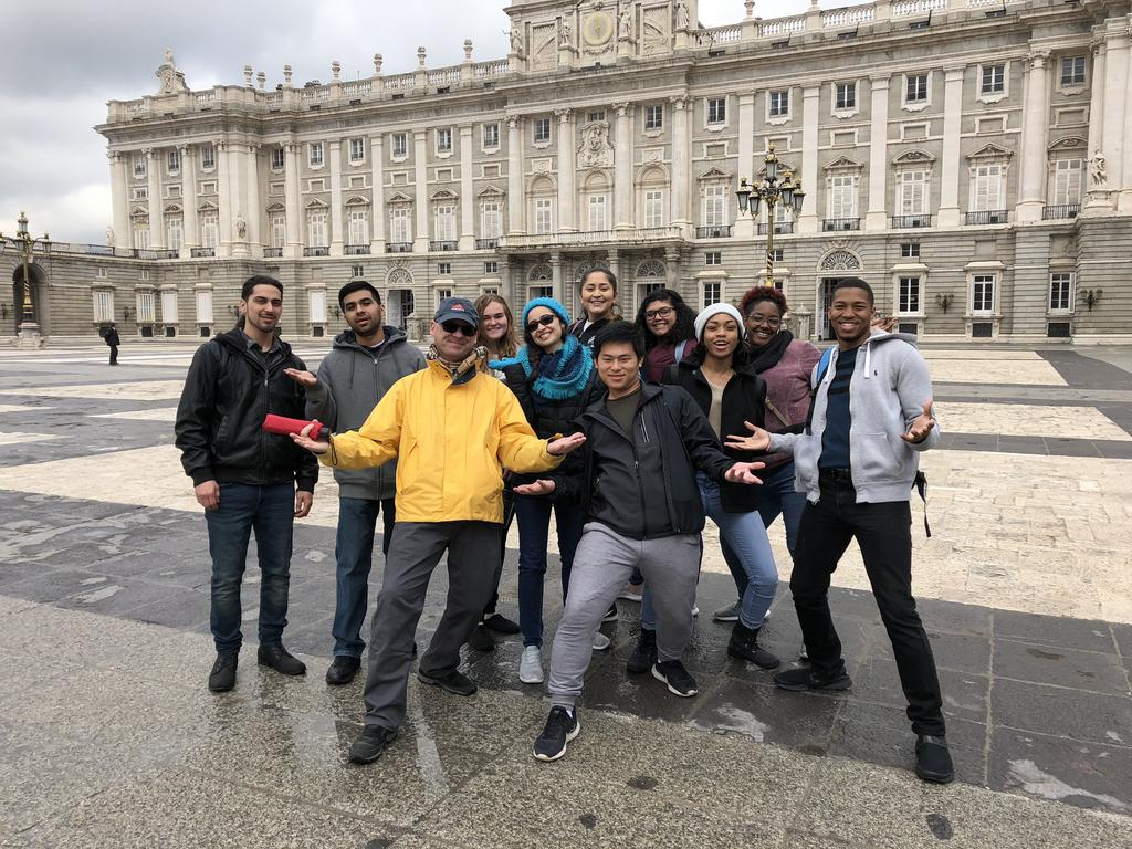 Dr. Porrúa and Foreign Languages Program students pose for a picture during a study abroad trip in Madrid in 2018.