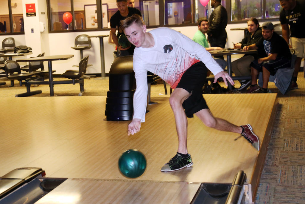 Man bowling at UNCP HawksNest