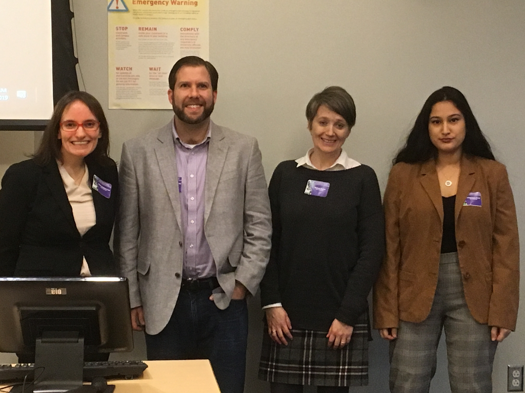 College of Arts and Sciences colleagues (left to right) Diana Dodson Lee (Foreign Languages), Christopher Woolley (History), Melissa Buice (Political Science), and undergraduate student Dominique Perez present at the first annual North Carolina Latin American Studies conference at UNC Chapel Hill.