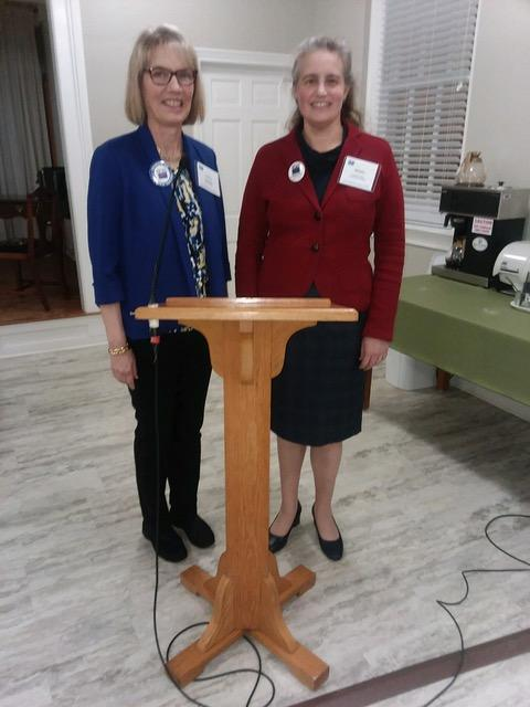 Melissa Schaub (right) moderated a panel on education and workforce retraining for the League of Women Voters in Laurinburg, 1/21/19. UNCP's Mary Beth Locklear (not pictured) also spoke.