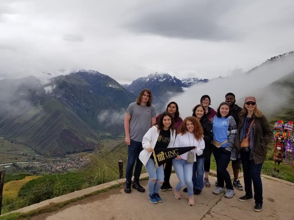 Foreign Languages Program faculty and students visit Cusco, Peru over spring break. Pictured here (from left to right) are Holden Jolley, Sarah Rodriguez, Ignayara Hernandez, Professor Milagros López-Fred, Antonia Uchytil, Angela Dial, Zachary McDowell, and Dr. Ana Cecilia Lara.