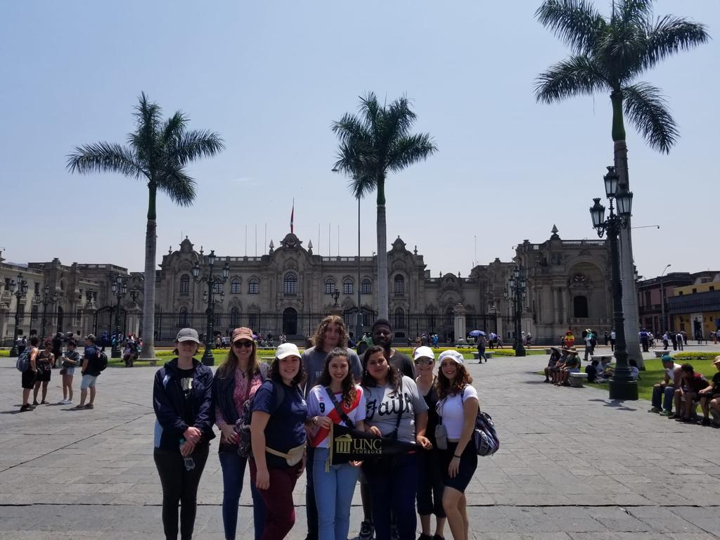Foreign Languages Program students and faculty visit Lima Centro in Peru during a spring break trip. Pictured here (from left to right) are Antonia Uchytil, Dr. Ana Cecilia Lara, Angela Dial, Holden Jolley, Sarah Roderiguez, Lena Paz, Zachary McDowell, Professor Milagros López-Fred, and Ignayara Hernandez.