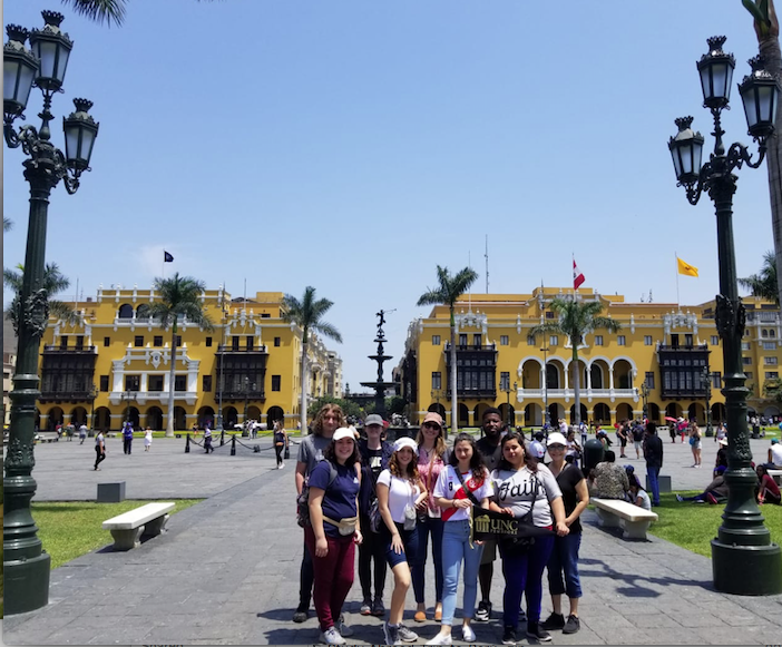 Foreign Languages Program faculty and students visit Lima Centro in Peru over spring break. Pictured here (from left to right) are Holden Jollye, Angela Dial, Antonia Uchytil, Ignayara Hernandez, Dr. Ana Cecilia Lara, Sarah Rodriguez, Zachary McDowell, Lena Paz, and Professor Milagros López-Fred.