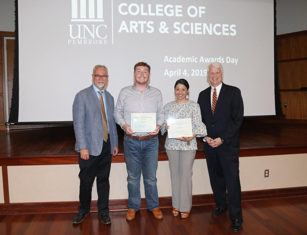 Drs. Richard Gay and Jeff Frederick join Joshua Cade and Chailee Jones, winners of the James Porter Math and Environmental Science Scholarship