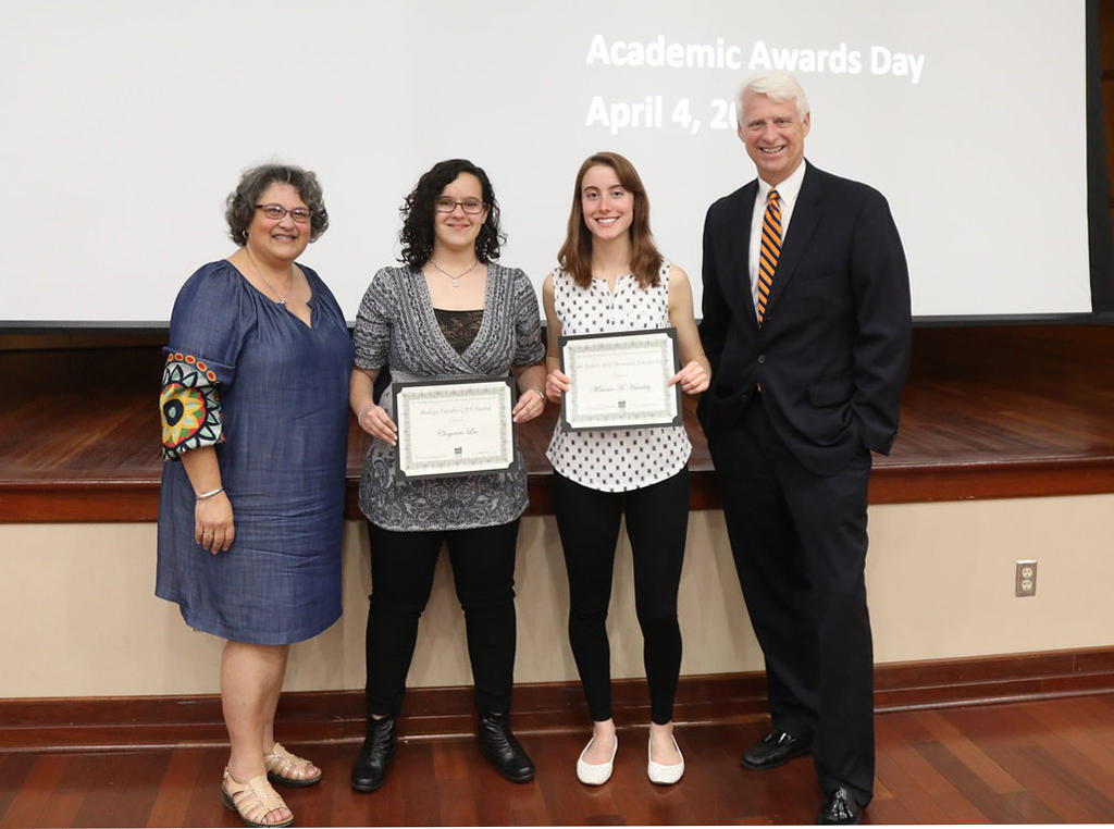 Drs. Velinda Woriax and Jeff Frederick join Cheyenne Lee and Melanie Handley, winners of the Biology Faculty Award and the Robert Britt Memorial Scholarship, respectively