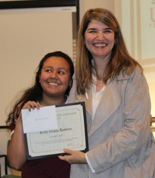 Dr. Ana Cecilia Lara (right) congratulates Keily Ramirez, recipient of the 2019 Outstanding Senior in Spanish award. Photo courtesy of Professor Sara Oswald.