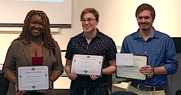 Recipients of English Program awards included (from left to right) Alexia McDougald, who received the John Green Memorial Endowed Scholarship; Chester Batterton, who received the Grace Loving Gibson Endowed Scholarship; and Jordan Williams, who received the Outstanding Senior in English award. Photograph courtesy of Dr. Melissa Schaub and Dr. Wendy Pearce Miller